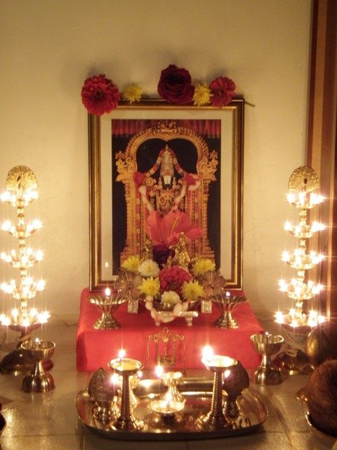 Lord venkatesa pooja room pooja space pinterest for Simple diwali home decorations