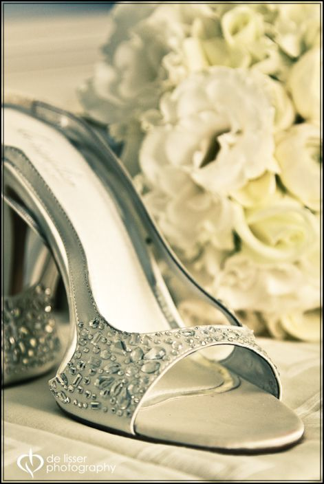 Crystal embellished silver slingbacks