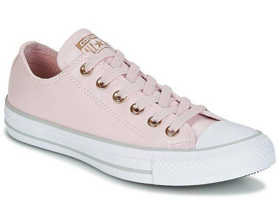 Pink Converse Leather Lux Blush Silver Rose Gold Low W US 8