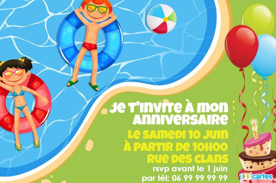 Invitation Anniversaire Piscine Party Charlotte Cartes