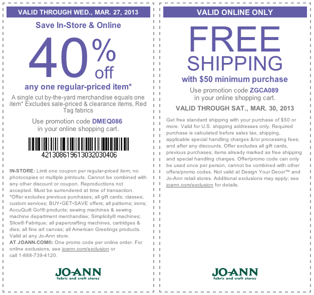 40 Off A Single Item At Jo Ann Fabric Or Online Via Promo Code Dmeq086 Coupon Via The Coupons App Printable Coupons Coupon Apps Coupons