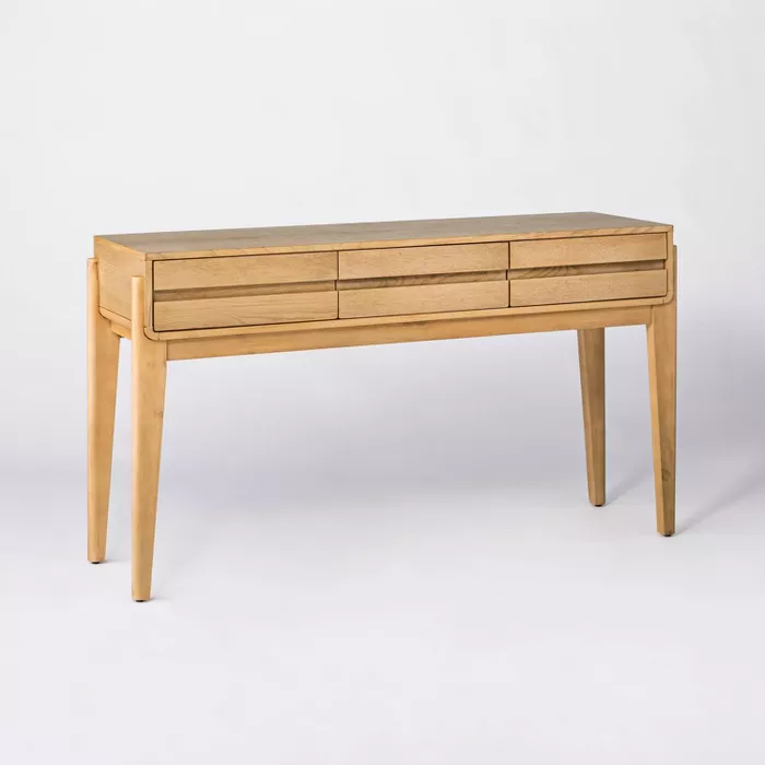 Herriman Wooden Console Table With Drawers Natural Threshold Designed With Studio Mcgee Wooden Console Table Wooden Console Console Table