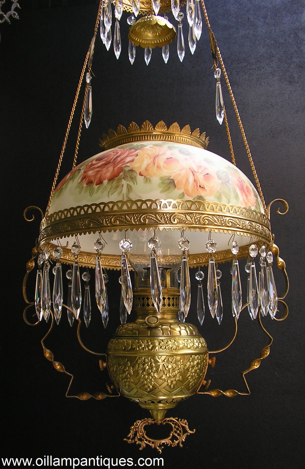 Beautiful antique hanging lamp complete with prisms | Other ...