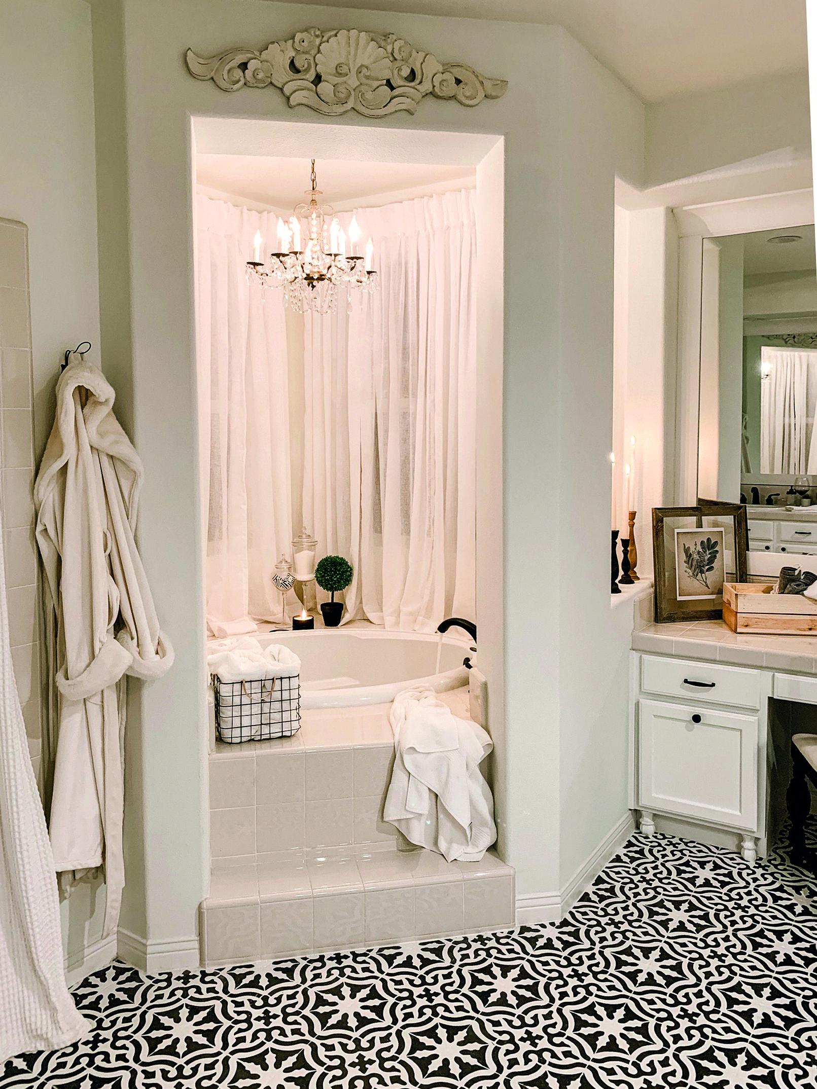How To Stencil Travertine Floors Jaclyn James Company Painted Bathroom Floors Painting Bathroom Tiles Painting Tile