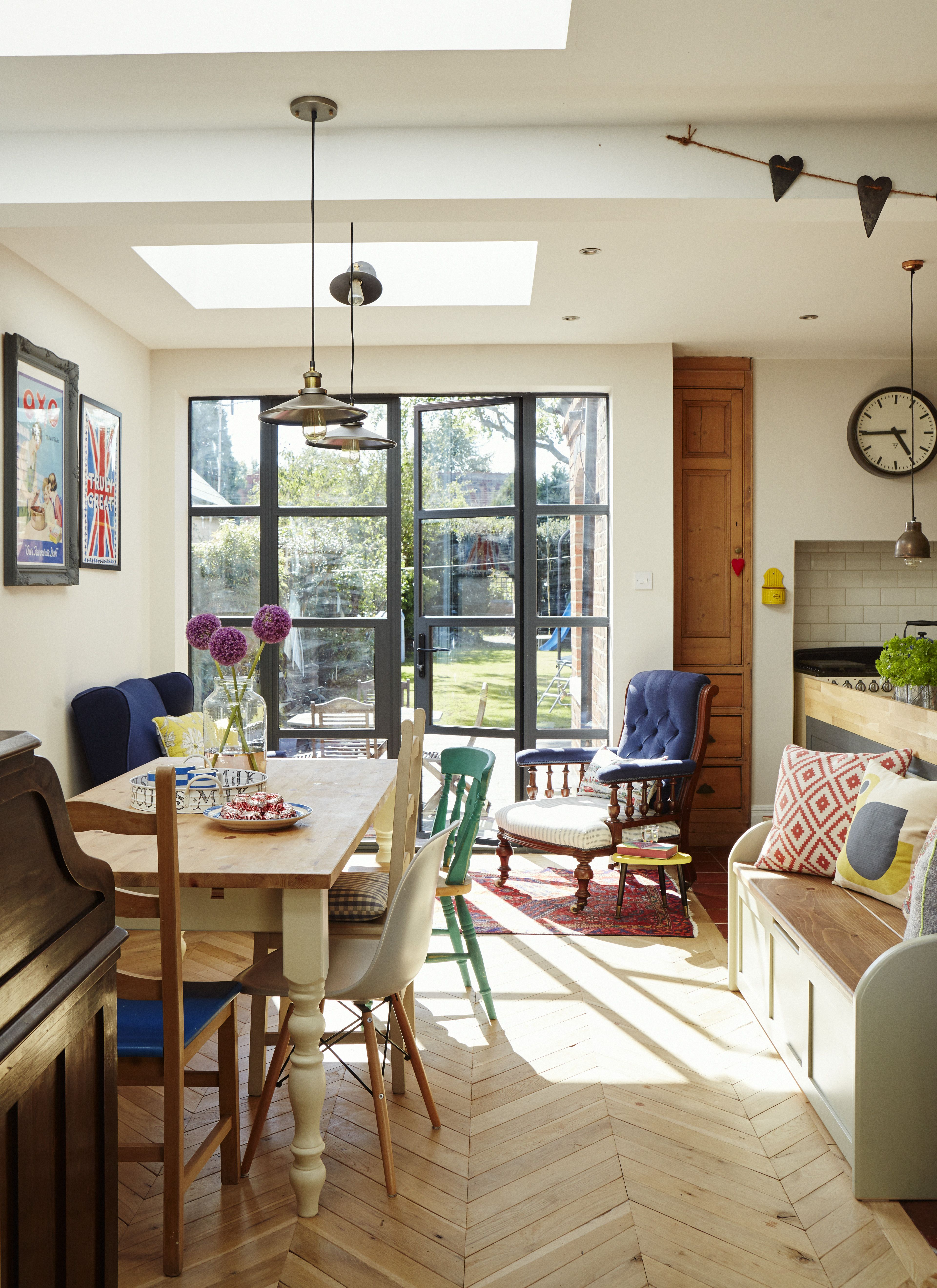 small open concept living room and kitchens on Kitchen Diner In Traditional Home With Crittal Windows Open Plan Kitchen Living Room Open Plan Living Room Small Open Plan Kitchens