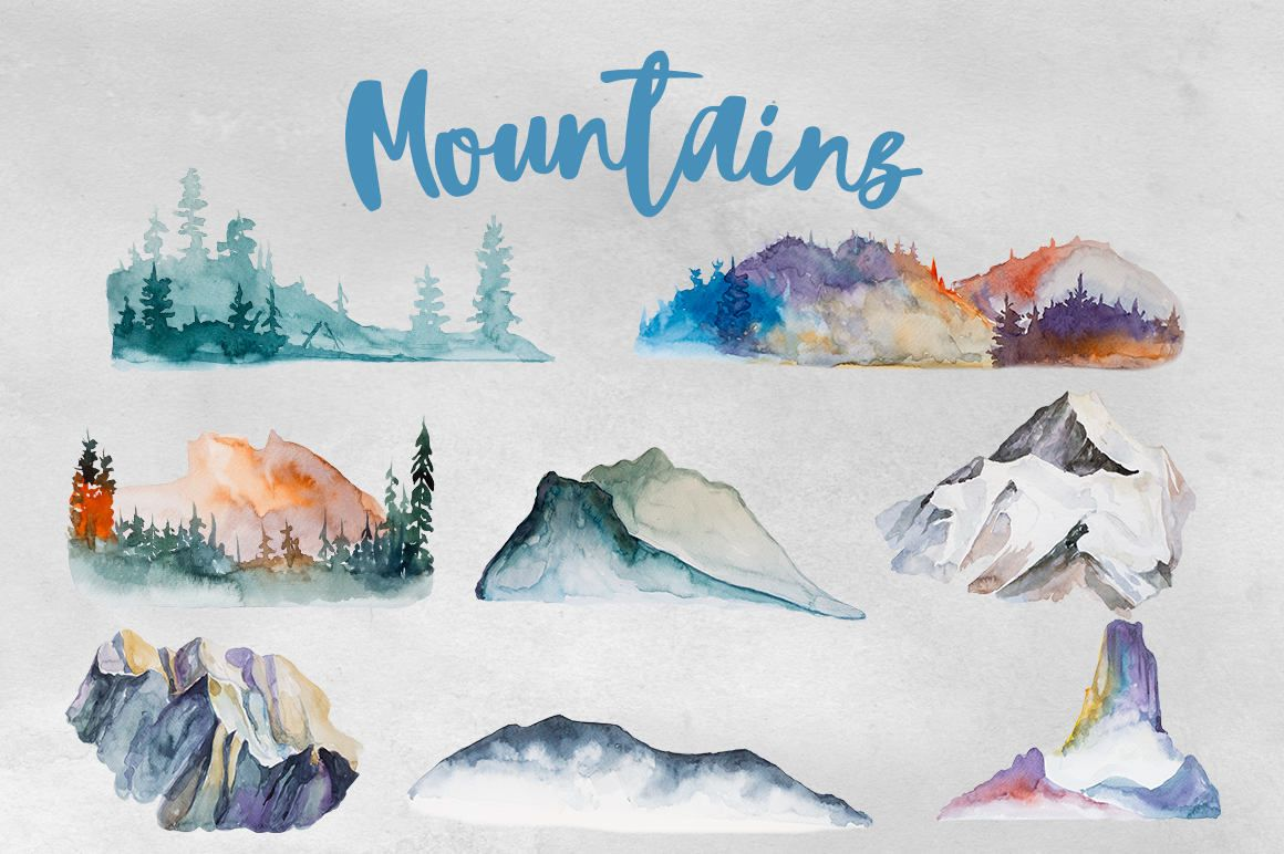 Watercolor Mountains Clipart Set Camping Trip Adventure Tree