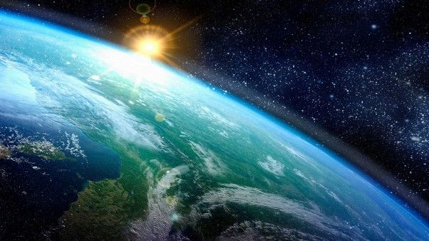 Hello Sun Appearing Over Earth In Space 4k Wallpaper Ultra