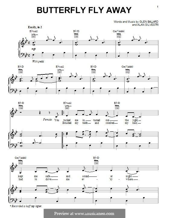 Butterfly Fly Away (Miley Cyrus): For voice and piano (or guitar) by ...