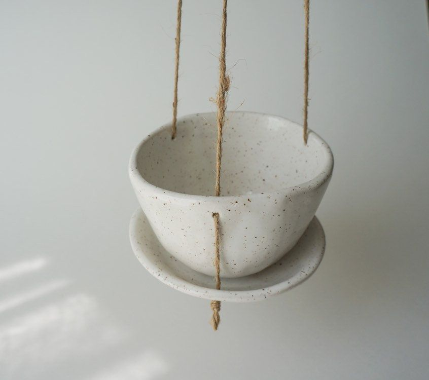 Hanging Planter With Drainage Holes And Saucer Pottery Planters Handmade Ceramics Hanging Planters