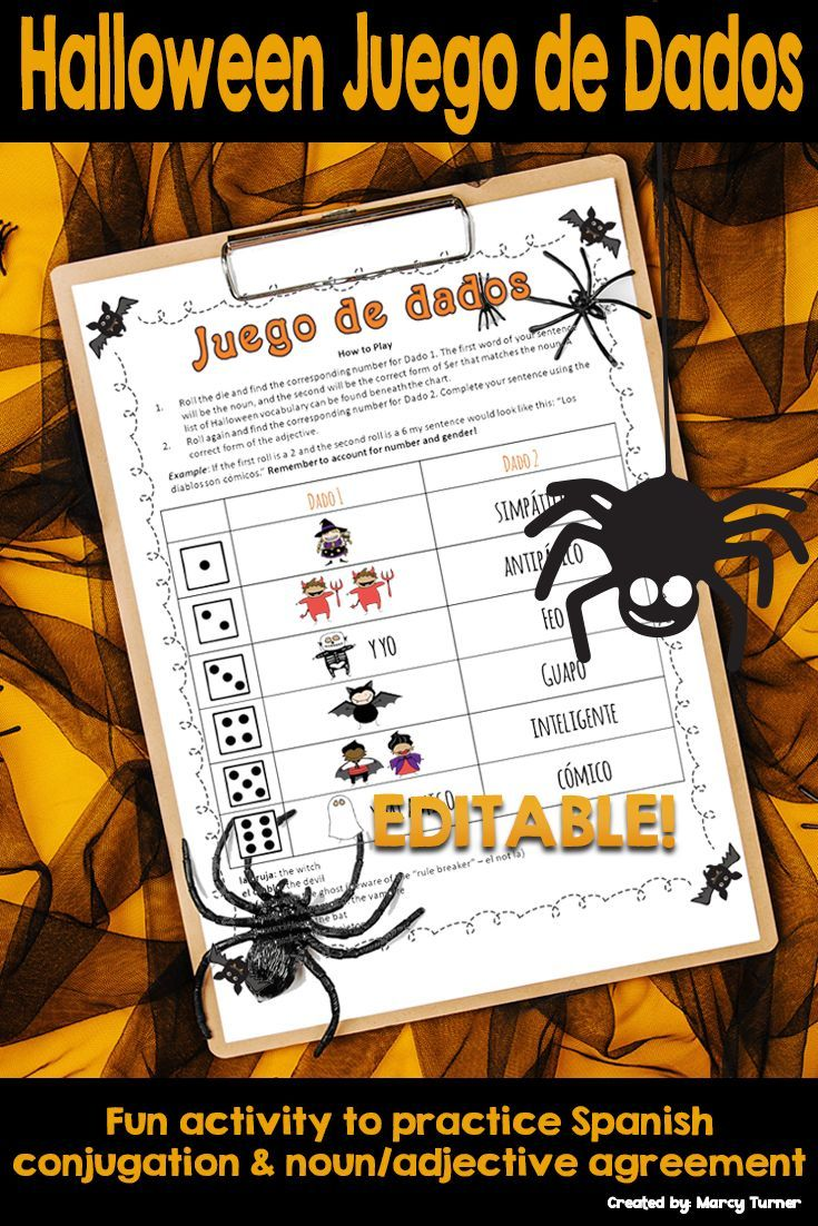 Spanish Halloween Activity Roll and Write EDITABLE