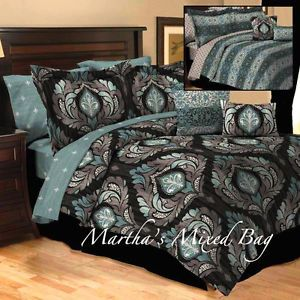 10pc calking teal gray black damask toile arabesque comforter sheet bedding set
