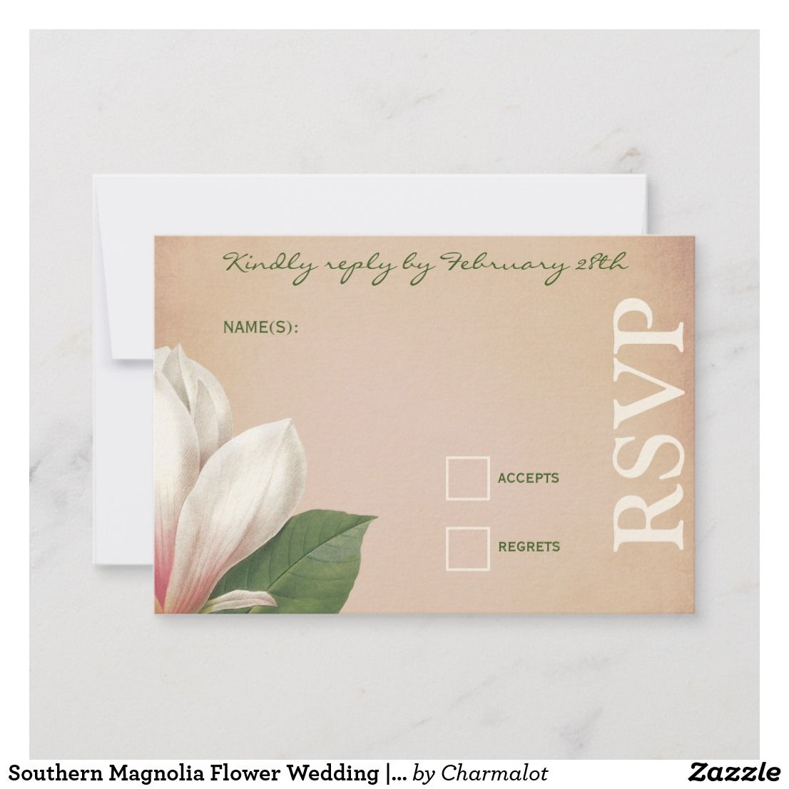 Southern Magnolia Flower Wedding Antique Blush Rsvp Card Zazzle Com Magnolia Flower Wedding Flowers Fun Wedding Invitations
