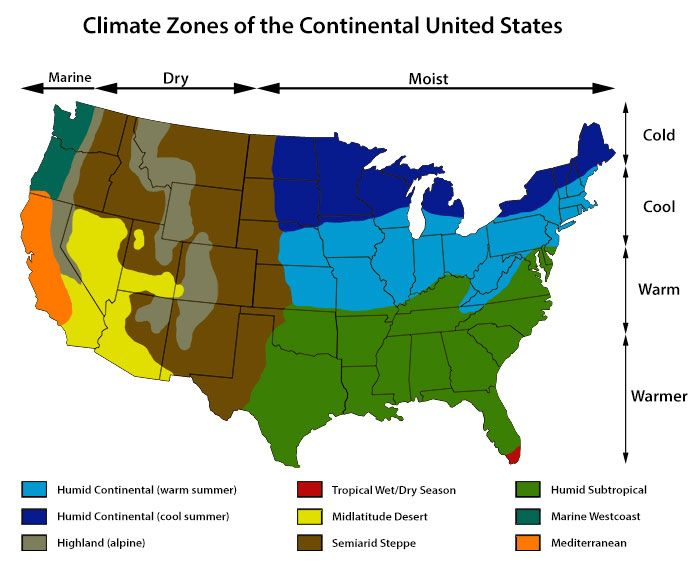 Map Of Us Climate Zones.Climate Zones Of The Continental United States Maps Vacation
