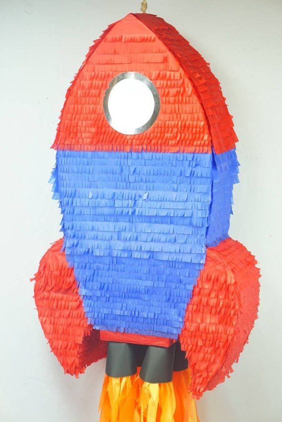 Pinata Rocket Ship | Space Pinata | Soace Party Decor | Outer Space Centerpiece | Rocket Ship Pinata #outerspaceparty