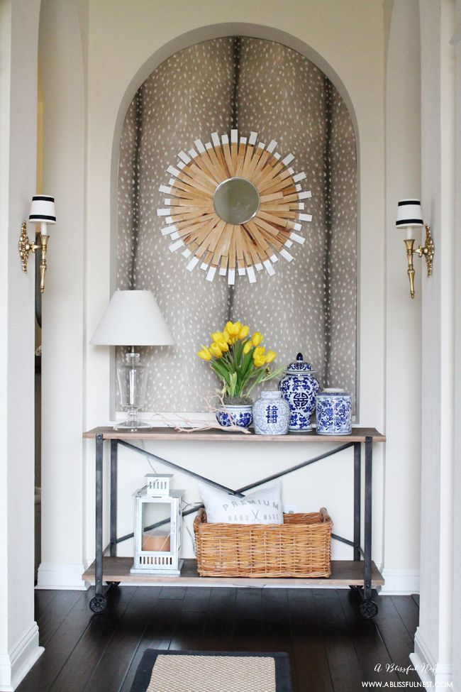 style your home with textures like a patterned wallpaper and blue and white accents tuesdaymorning