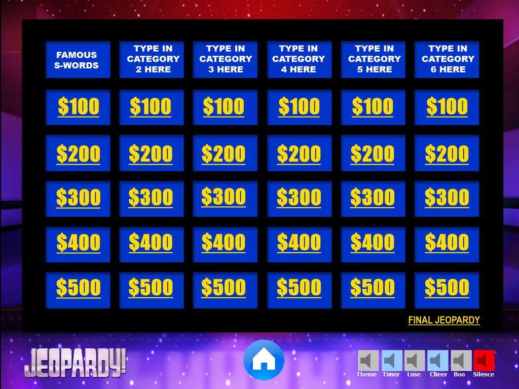 Jeopardy Powerpoint Template With Music Games Pinterest Games