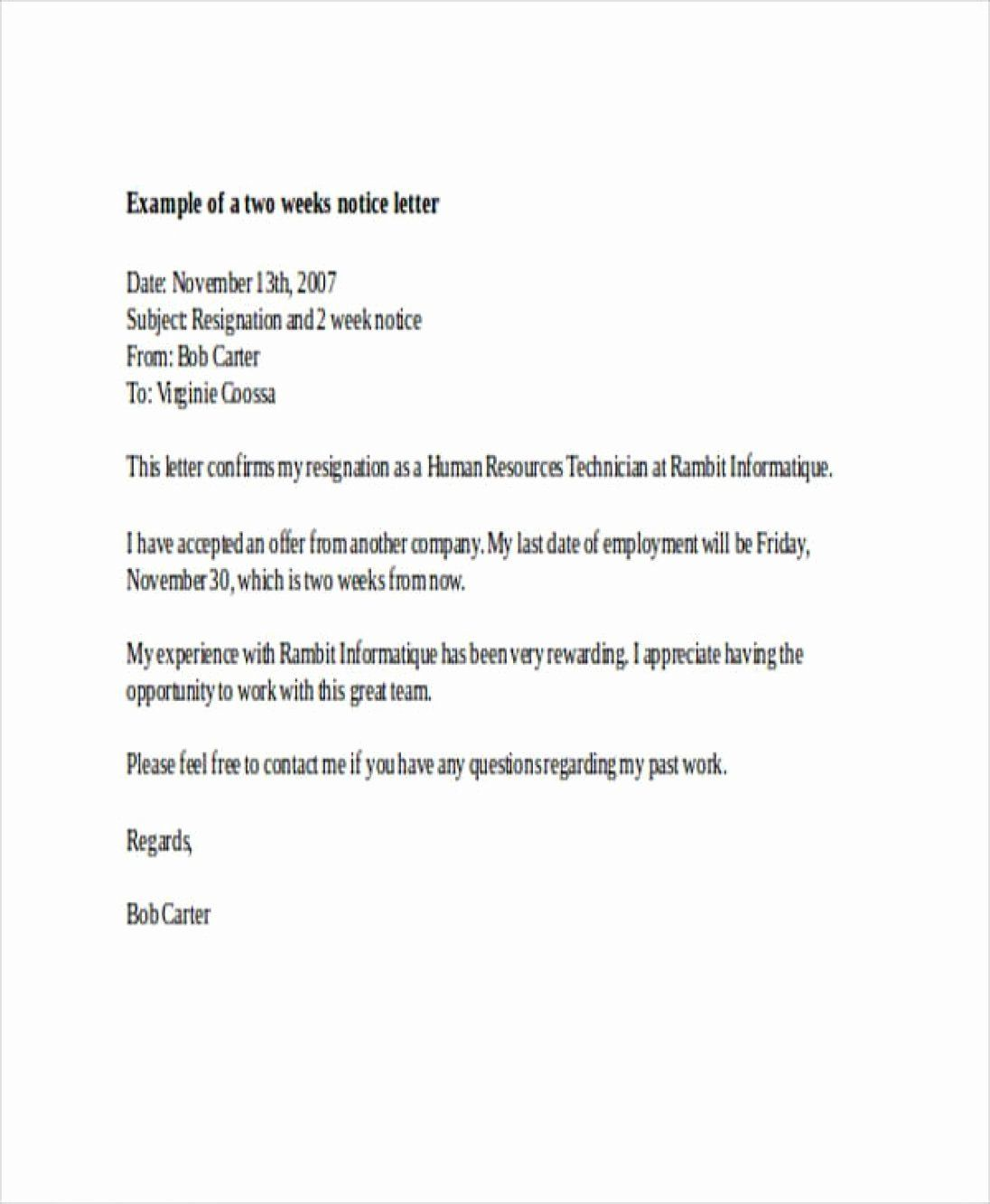 Two Week Resignation Letter Template Unique 11 12 Formal Two Week Notice Letter Two Weeks Notice Resignation Letter Letter Templates Nursing resignation letter 2 week notice