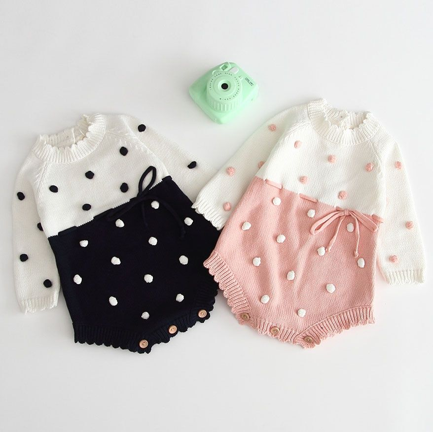 Newborn Baby Girls Wool Knit Long Sleeve Bodysuit Romper Jumpsuit Warm Outfits