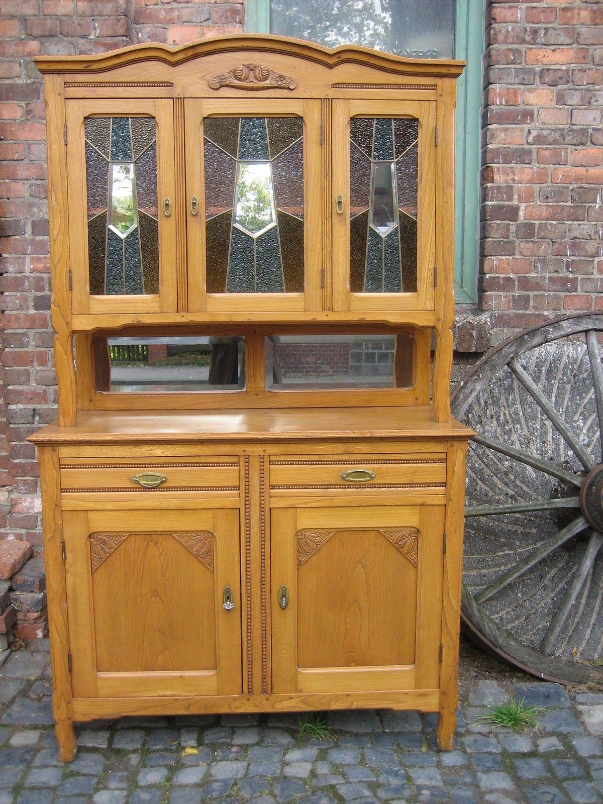 Schrank-Antik-Buffet-Jugendstil-Bleiverglasung-um 1900   Küchenmöbel ...