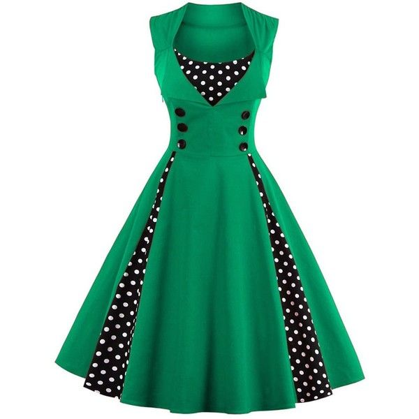 Midi Polka Dot Prom Dress (€17) ❤ liked on Polyvore featuring dresses, dot dress, calf length dresses, spotted dress, prom dresses and mid calf dresses