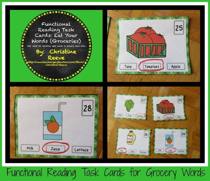 This set includes 60 multiple-choice task cards identifying sight - grocery words