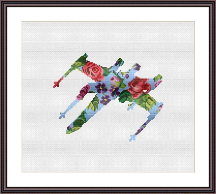 Star Wars Cross Stitch PDF pattern Floral X-wing   Bordado