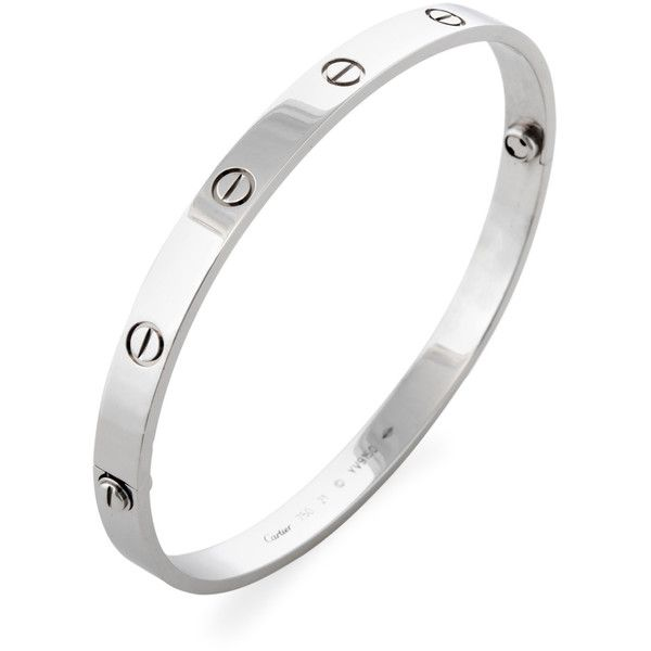 Cartier Women's Vintage Cartier 18k White Gold Love Bracelet - Size... (€5.275) ❤ liked on Polyvore featuring jewelry, bracelets, no color, cartier bangle, hinged bangle, 18k white gold bangle, hinged bracelet and white gold jewellery