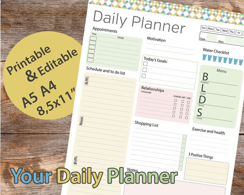 Day Planner Printable Daily Planner Editable Daily Organizer
