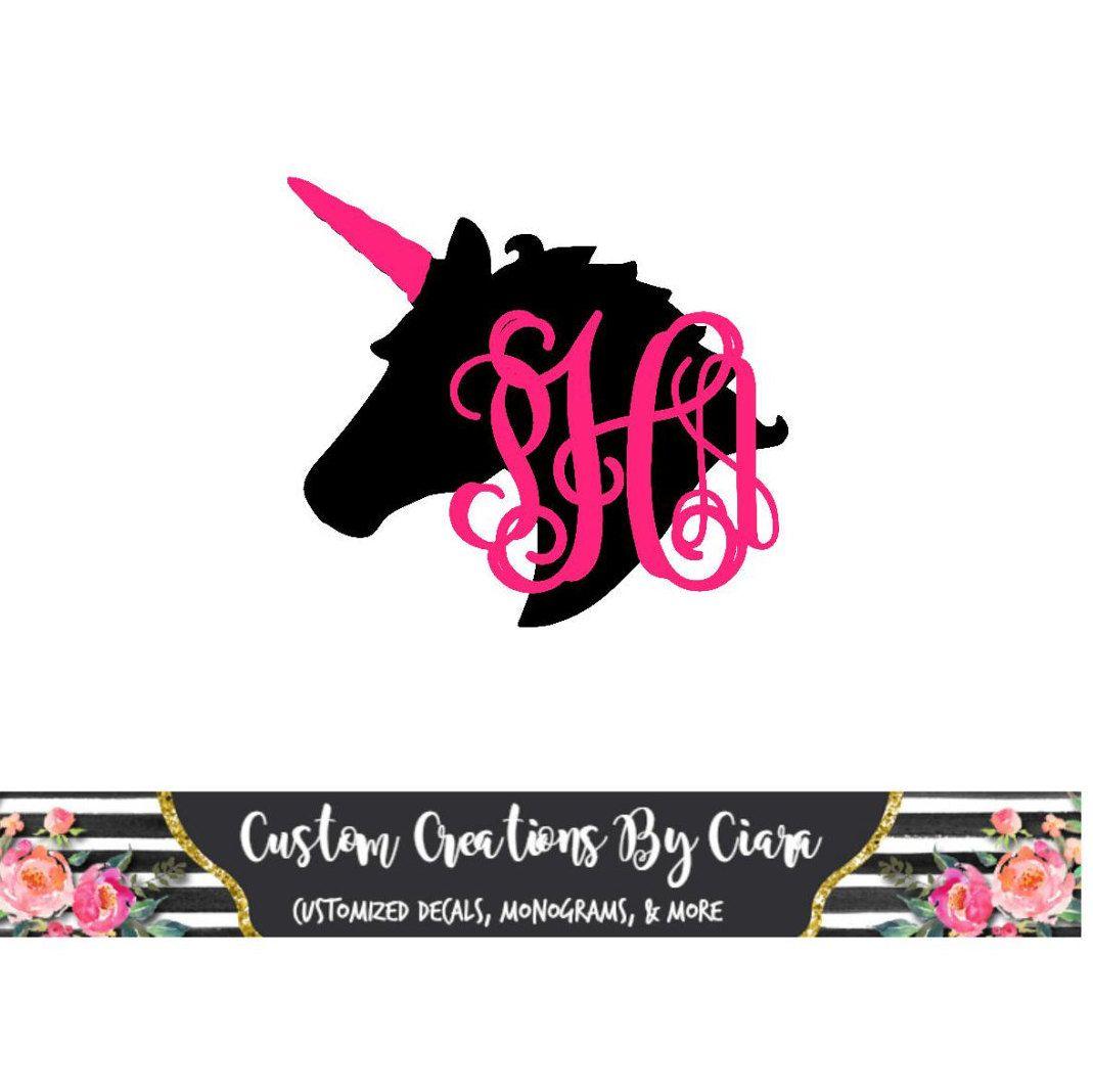 Car sticker maker app - Unicorn Monogram Unicorn Decal Car Decal Cup Decal Unicorn Sticker Princess