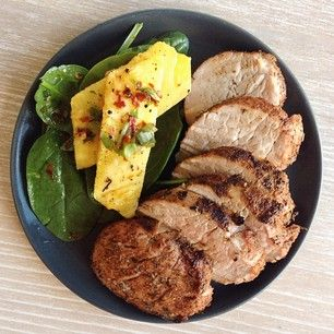 Official Whole30® Recipes @whole30recipes Instagram photos   (Webstagram)...pork medallion with spinach pineapple salad