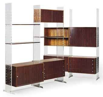 Poul Nørreklit, Rosewood, Formica, Acrylic and Aluminum Shelving System, 1960s.