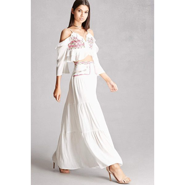 e4933f8dc021 Forever21 Embroidered Maxi Skirt ($45) ❤ liked on Polyvore featuring skirts,  white, white tiered skirt, forever 21 skirts, white skirt, long white skirt  ...