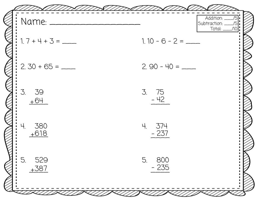 This Free Addition And Subtraction Fluency Quick Check Has Five Addition And Five Subtraction Questio Addition And Subtraction Subtraction Elementary Resources Math addition and subtraction fluency
