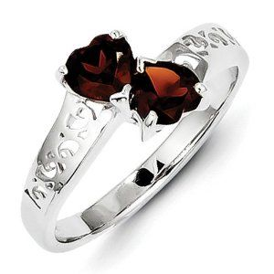SS Rhodium Garnet Heart Ring. Gem Wt- 1.05ct. Metal Wt-2.22g