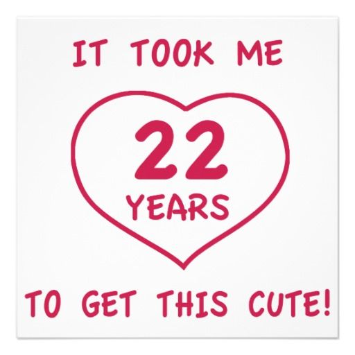 22 Birthday Quotes Funny 22nd Birthday Gifts (Heart) Custom Announcement | 22nd  22 Birthday Quotes