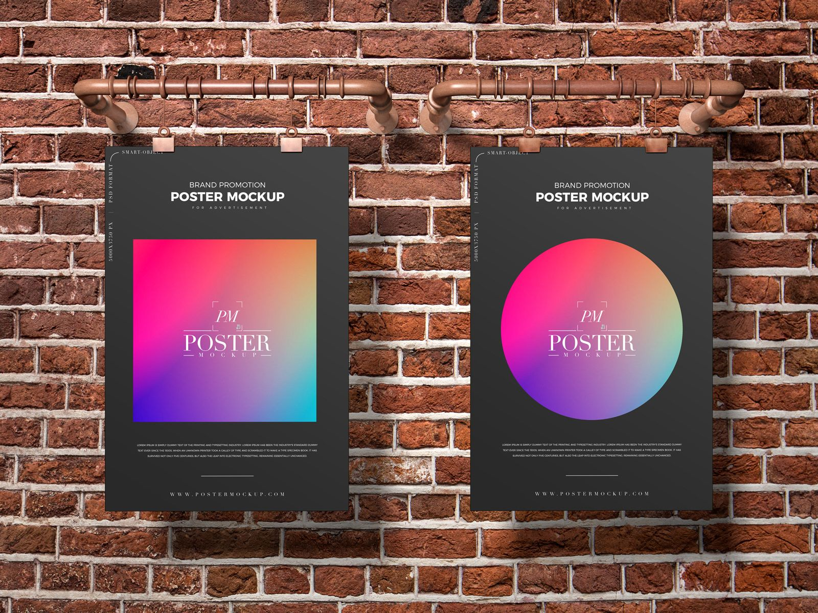Free Hanging 2 Posters Mockup Poster Mockup Hanging Posters Brand Promotion