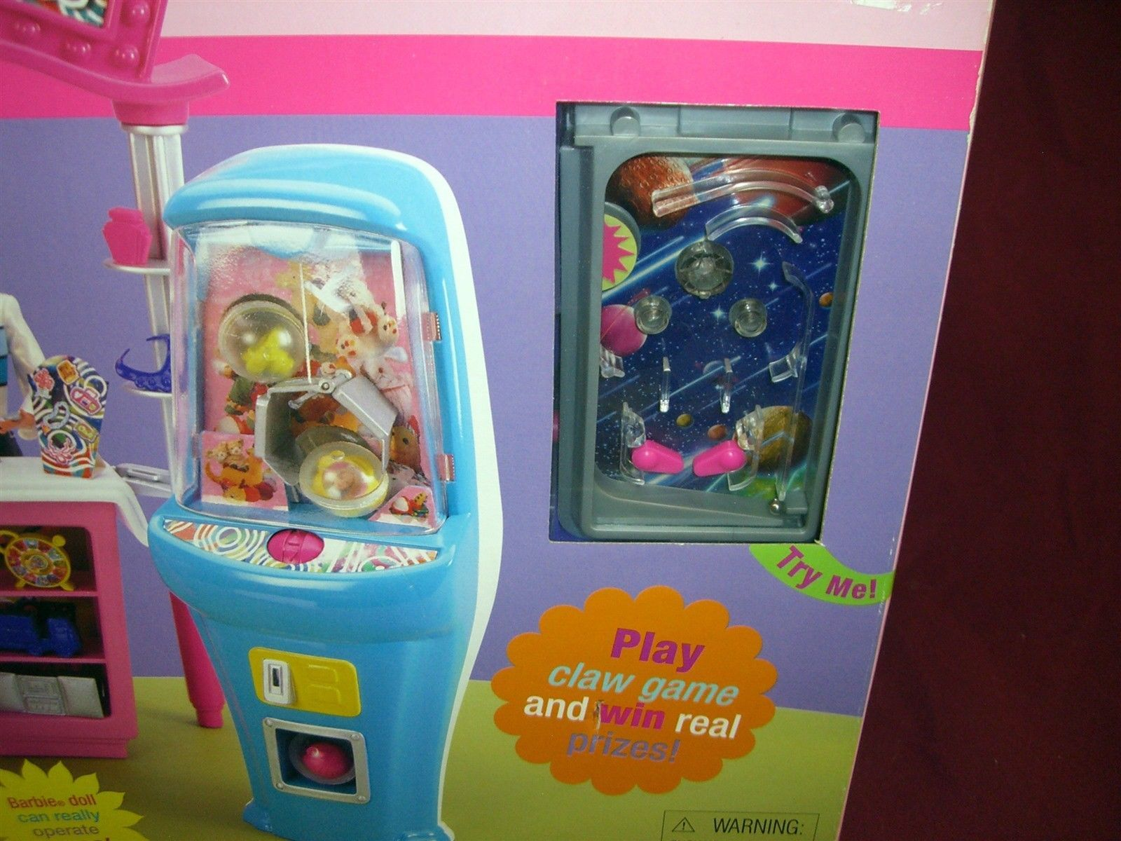 barbie play nu prize arcade pin ball machine mattel nrfb