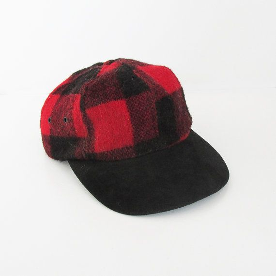 Vintage Red   Black Plaid Hunting Hat Flannel by leapinglemming ... 0b810a44cf38