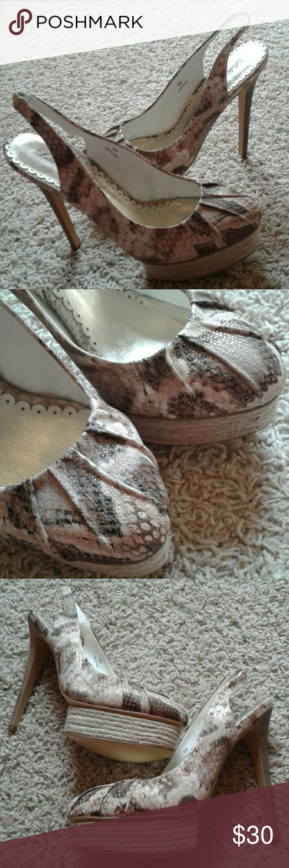 NEW Metallic Snakeskin Heels Brand new and never worn! PERFECT condition! Lulu Townsend Shoes Heels
