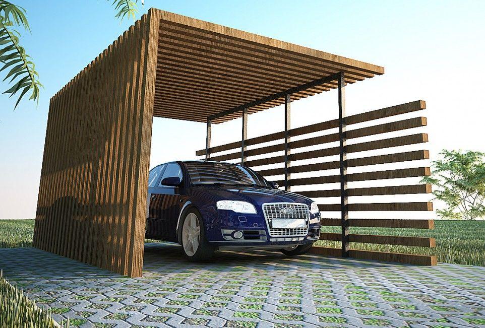 Exterior, Back To Nature : Wood Car Ports: Modern Wood Car Ports