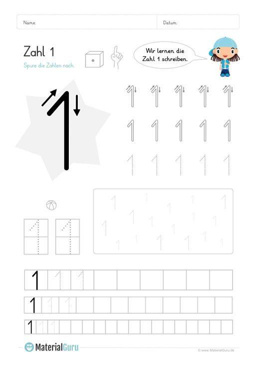 kostenlose arbeitsbl tter und bungen zur zahl 1 f r den mathe unterricht an der grundschule zum. Black Bedroom Furniture Sets. Home Design Ideas