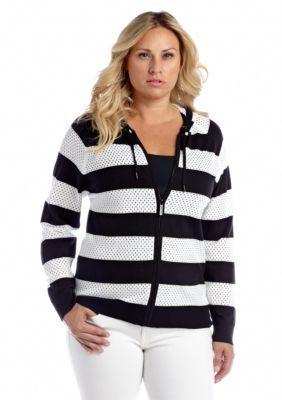MICHAEL Michael Kors  Plus Size Long Sleeve Stripe Zip Hoodie