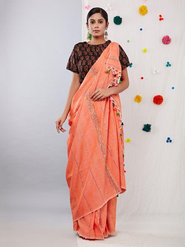 365eb4885c3cf Peach Khesh Cotton Saree