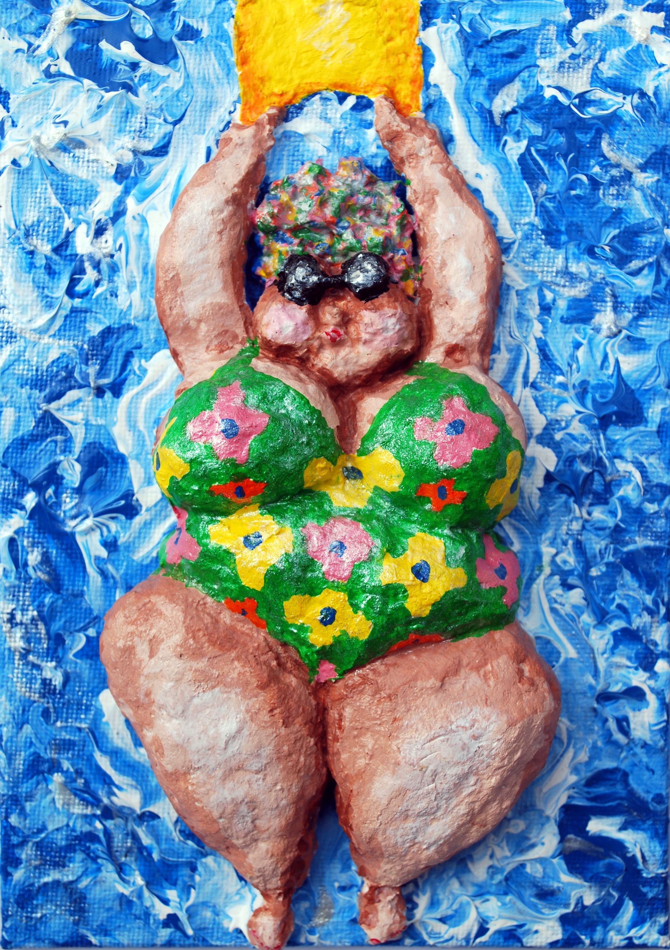 The other day at the local pool, an older lady was swimming lengths in the next lane. She had a great bathing cap covered with plastic flowers, yellow goggles and a wild floral bathing suit. As she swam, the flowers on her bathing cap whirled around her head and I had a hard time not laughing. I know she thought she looked quite beautiful as she sashayed by me, plastic flowers flapping with each step. All I could think was how eccentric people become as they get older. I hope I am so lucky!