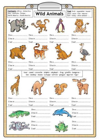 Wild Animals Reading Writing Worksheet S Izobrazheniyami