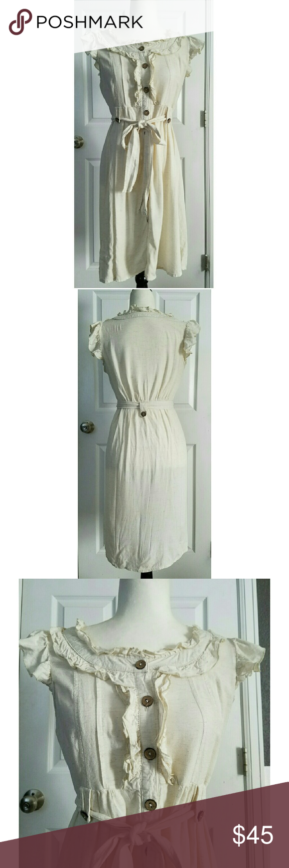 """Pink Martini vintage inspired dress Cream with light brown threading throughout. Wood buttons. In great condition. Approximately 36"""" shoulder to hem. Pit to pit laying flat across chest is approximately 17.5"""", waist laying flat across is 15.5"""". Labeled a medium.  I wear a 6 and it fits me. Pink Martini  Dresses Midi"""