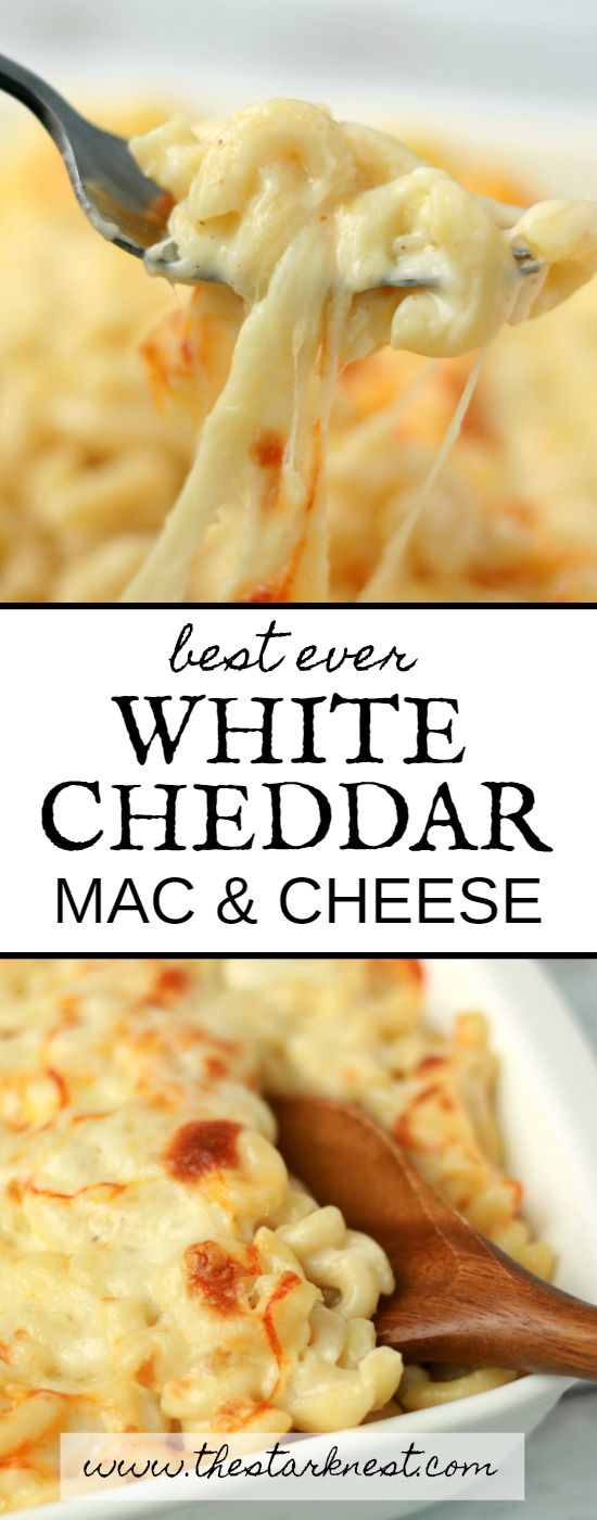 This recipe for cheesy, gooey, melty white cheddar mac and cheese is the only mac and cheese recipe you'll ever need! Perfect for a crowd pleasing meal!
