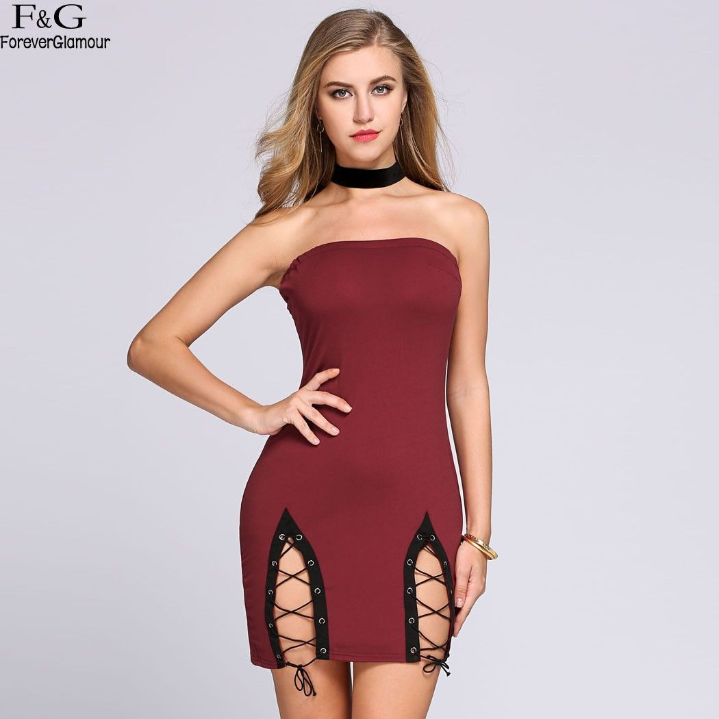 cecae0562806 FANALA Summer Dress Women Party Dresses 2017 Sexy Off The Shoulder Strapless  Hollow Out Lace Up Drawstring Mini Bodycon Vestidos  Affiliate
