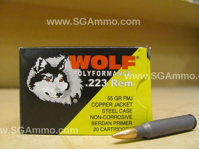 500 round case - 223 Rem 55 Grain Copper Jacket FMJ Wolf