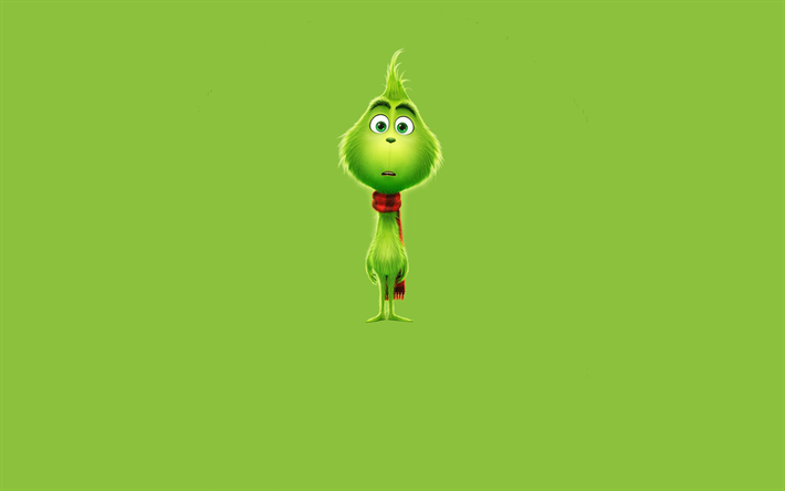 Download wallpapers The Grinch, 4k, minimal, 2018 movie